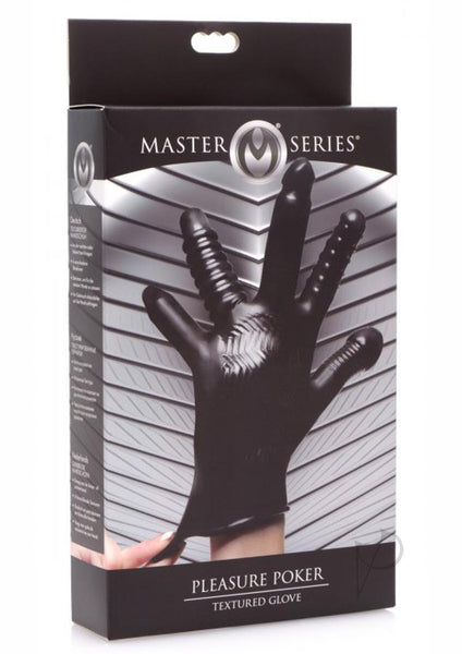 Master Series Pleasure Poker Textured Glove - Black