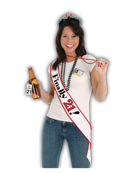 Finally 21 Birthday Sash - White