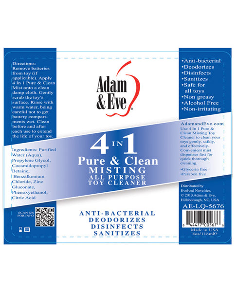Adam & Eve 4 In 1 Pure & Clean Misting Cleaner