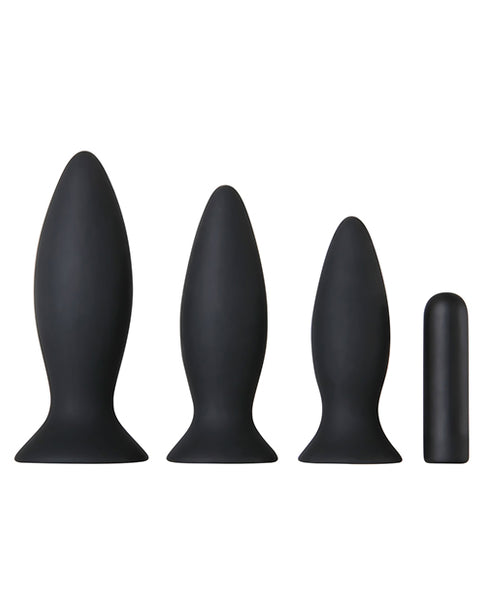 Adam & Eve Rechargeable Vibrating Anal Training Kit - Black