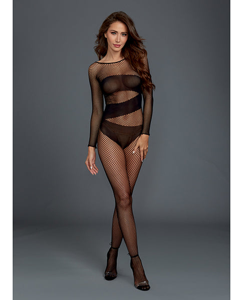 Stretch Fishnet Long Sleeved Bodystocking, Worn On or Off the Shoulder Black O/S