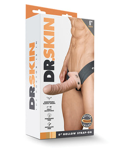 "Blush Dr. Skin 6"" Hollow Strap On - Vanilla"