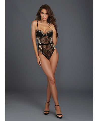 Stretch Lace & Mesh Underwire Molded Cup Teddy w/Cheetah Print - Black