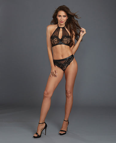 Stretch Lace & Sheer Mesh High Neck  Halter Underwire Bralette & Thong - Black
