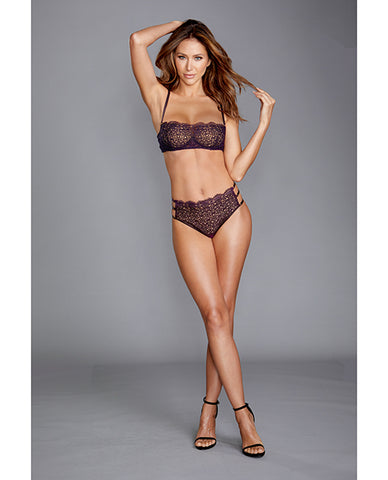 Venise Embroidery Bra & G-String Set - Eggplant