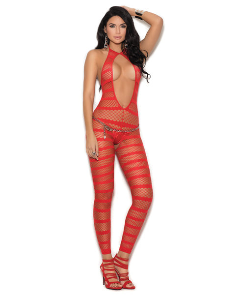 Opaque & Diamond Net Striped Bodystocking w/Open Crotch Red O/S