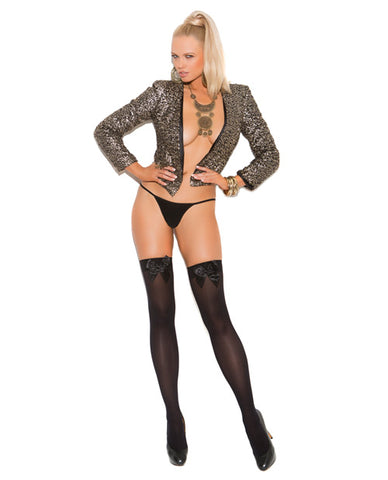 Opaque Thigh High w/Satin Bow - Black