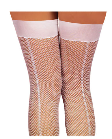 Fishnet Thigh Highs w/Back Seam White O/S