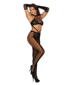 Vivace Crochet Bodystocking w/Gloves Black O/S