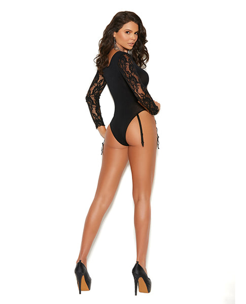 Vivace Long Sleeve Lace & Opaque Teddy w/Attached Garters Black O/S