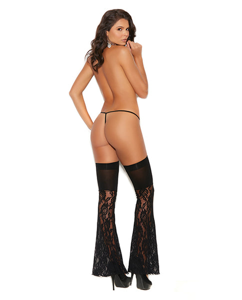 Vivace Lace & Opaque Thigh Highs Black O/S