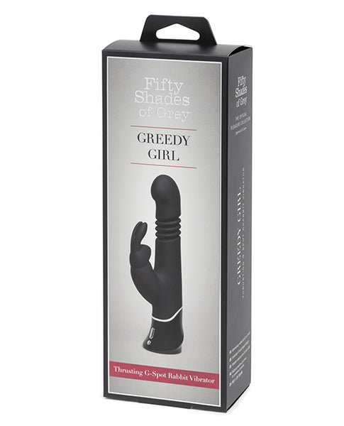 Fifty Shades of Grey Greedy Girl Rechargeable Thrusting G Spot Rabbit Vibrator - Black