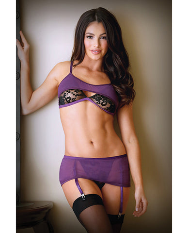 Tease Erica Bralette & Skirted Crotchless Panty w/Garters Purple/Blk