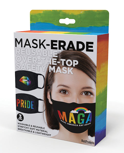 Hott Products Mask-erade Masks - Pride/Gay Again/ Rainbow Kiss Pack of 3