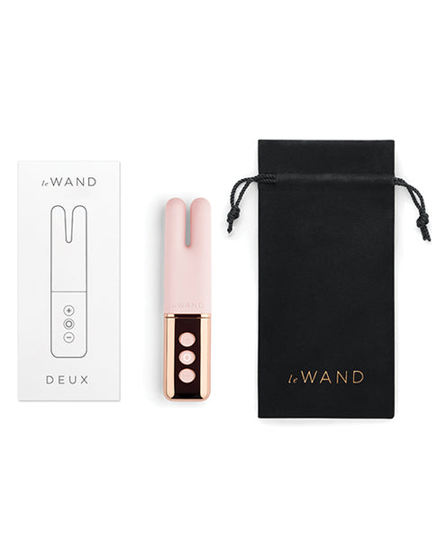Le Wand Deux Chrome Twin Motor Rechargeable Vibrator - Rose Gold