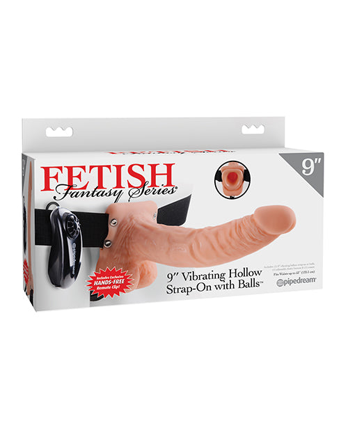 "Fetish Fantasy Series 9"" Vibrating Hollow Strap On w/Balls"