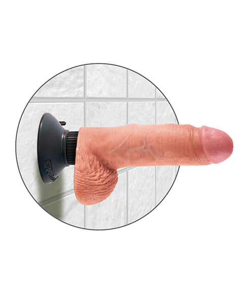 "King Cock 7"" Vibrating Cock w/Balls - Flesh"