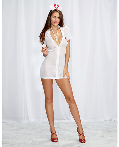 Stretch Mesh Chemise w/Front Zipper, Hat, & Stethoscope - White/Red
