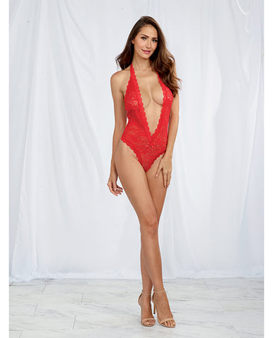 Halter Stretch Lace Teddy w/Plunging Neckline, Halter Ties & Heart Cut Out on Back =- Red