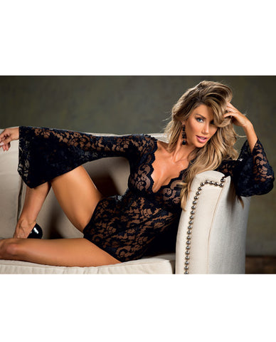 Stretch Lace Bodysuit w/Long Bell Sleeves - Black