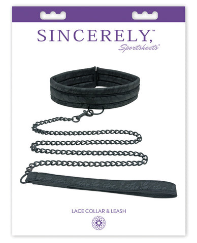 Midnight by Sportsheets Lace Collar & Leash - Black