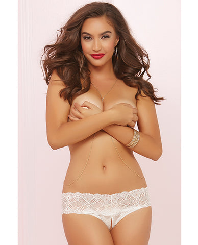 Crochet Lace Split Crotch Thong - White