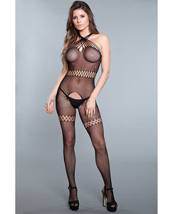Sheer Crotchless Bodystocking w/Twist Halter Neck Black O/S