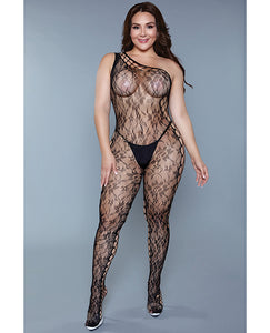 Asymmetrical Fishnet Crotchless Bodystocking with Floral Lace Detail and One Arm Strap Black QN