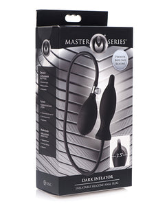 Master Series Dark Inflator Inflatable Silicone Anal Plug - Black