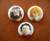 "Tiny Tenenbaums - Set of 3 Royal Tenenbaums 1"" Buttons"