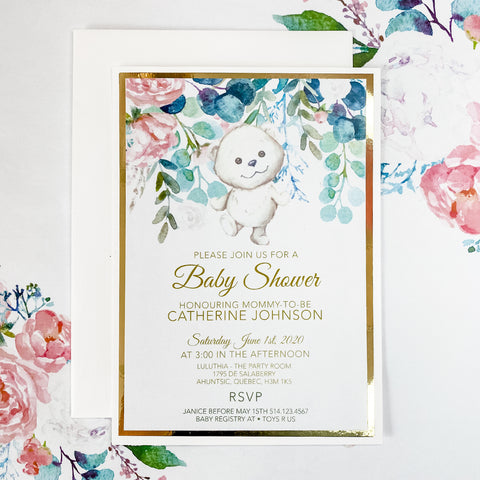 GARDEN TEDDY BEAR INVITATION CARD