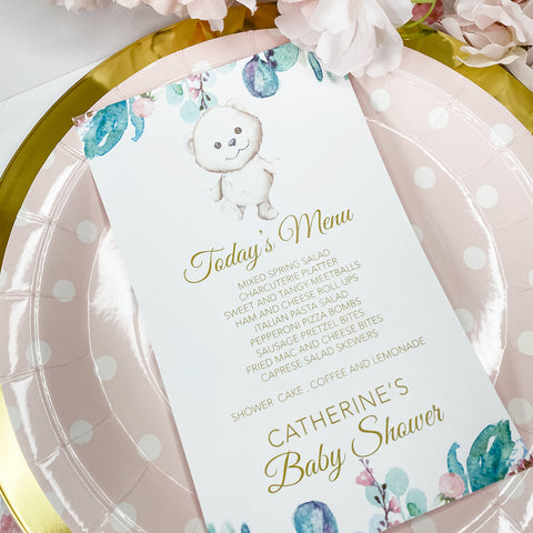 GARDEN TEDDY BEAR MENU CARDS