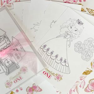BALLERINA PRINCESS BIRTHDAY, GIRL FIRST BIRTHDAY,  COLOURING SET PARTY FAVOUR