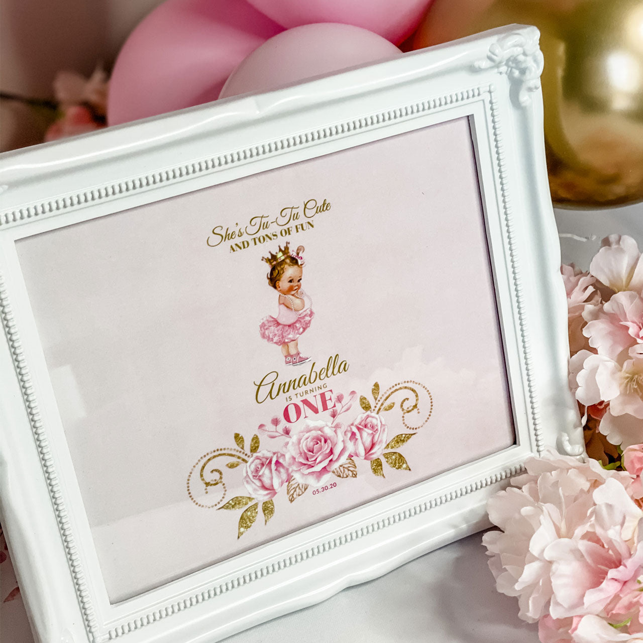 "BALLERINA PRINCESS BIRTHDAY, GIRL FIRST BIRTHDAY,  KEEPSAKE 8"" X 10"" FRAME AND MATCHING PERSONALIZED GRAPHIC"