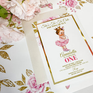 BALLERINA PRINCESS FIRST BIRTHDAY INVITATION CARD