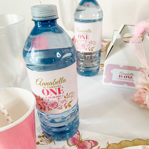 BALLERINA PRINCESS FIRST BIRTHDAY WATER BOTTLE WRAP KIT