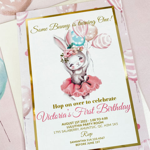BALLERINA BUNNY BIRTHDAY, GIRL FIRST BIRTHDAY INVITATION CARD