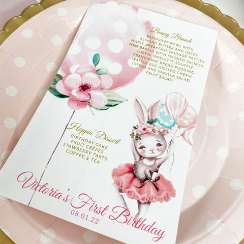 BALLERINA BUNNY BIRTHDAY, GIRL FIRST BIRTHDAY, MENU CARDS