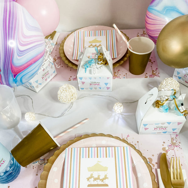 CAROUSEL PASTEL BABY GIRL FIRST BIRTHDAY PERSONALIZED PARTY IN A BOX