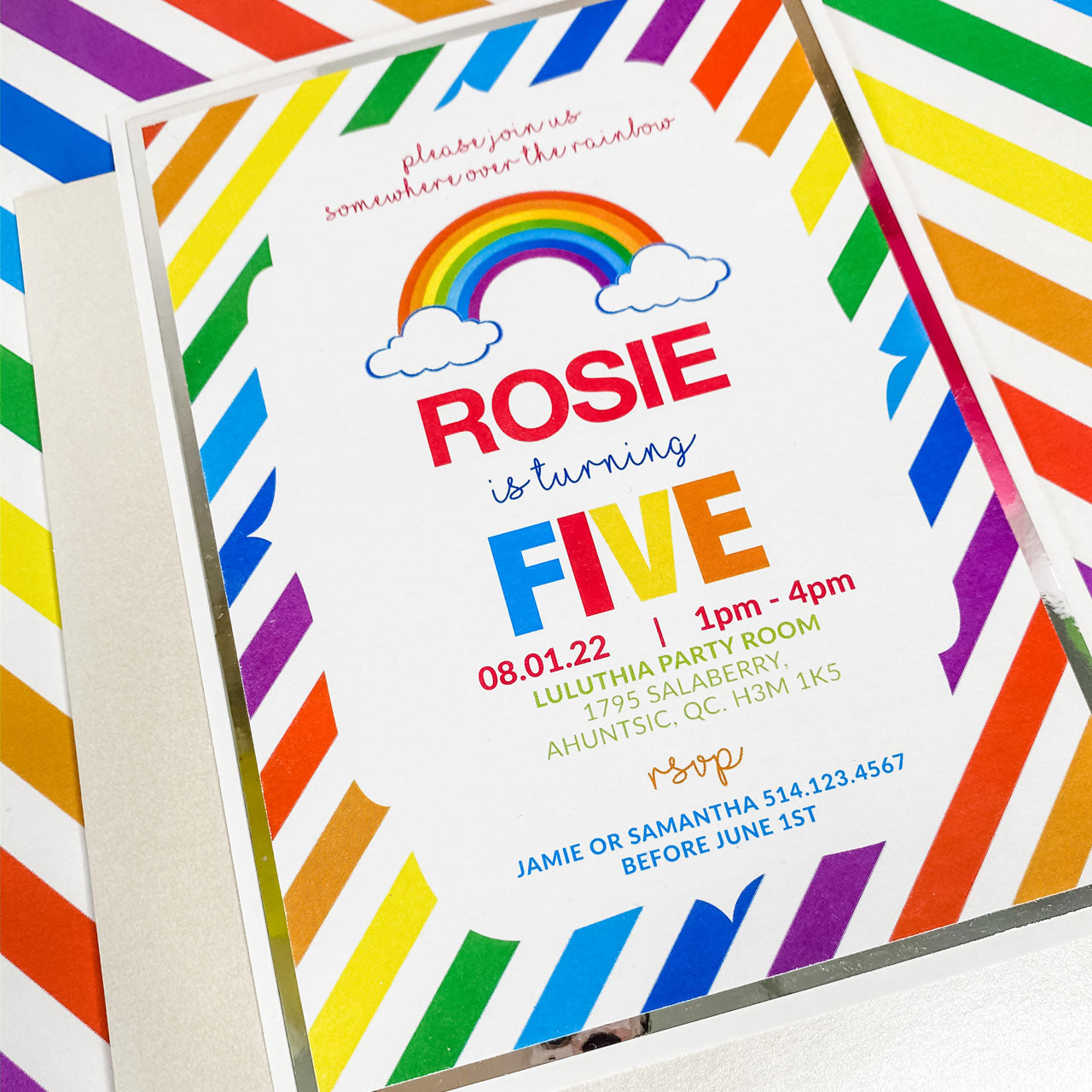 RAINBOW OF FUN BIRTHDAY INVITATION CARD