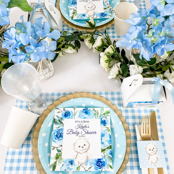 TEDDY BEAR FLORAL GARDEN - ITS A BOY BABY SHOWER