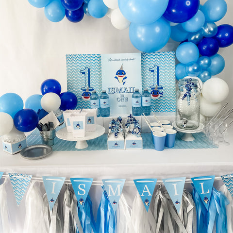 BABY SHARK BOY FIRST BIRTHDAY DESSERT & DRINK STATION