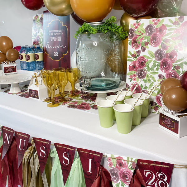 WINE THEME BIRTHDAY DESSERT & DRINK STATION BACKDROP