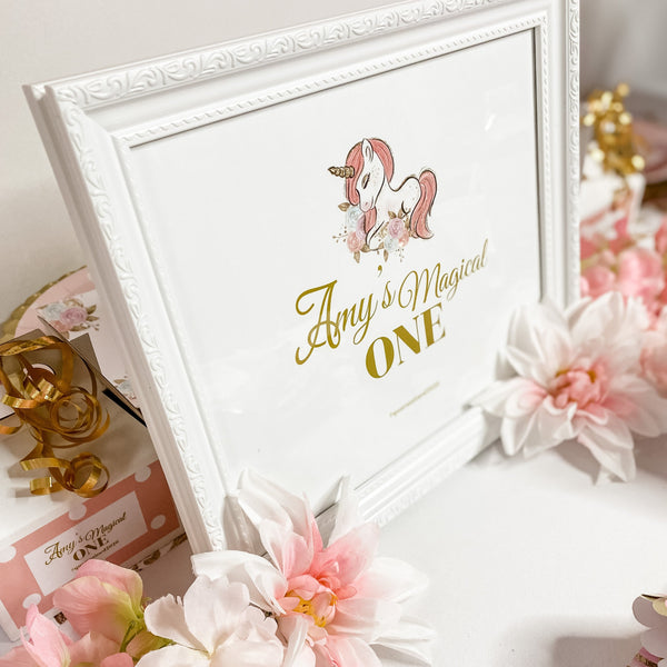 UNICORN BIRTHDAY FRAME & CUSTOM GRAPHIC SIGN