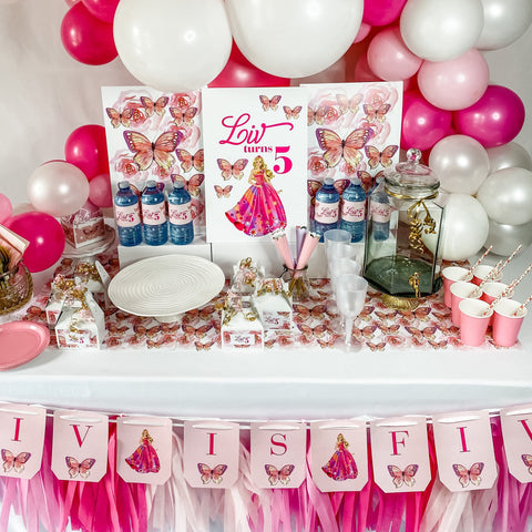 BARBIE GIRL BIRTHDAY DESSERT & DRINK STATION BOX
