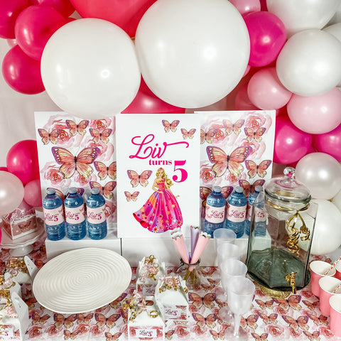 BARBIE GIRL BIRTHDAY DESSERT & DRINK STATION BACKDROP