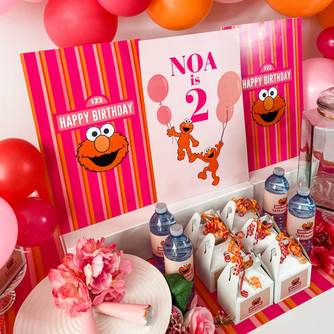 ELMO GIRLY GIRL BIRTHDAY DESSERT & DRINK STATION BACKDROP