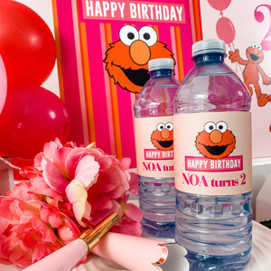 ELMO GIRLY GIRL BIRTHDAY WATER BOTTLE WRAP KIT