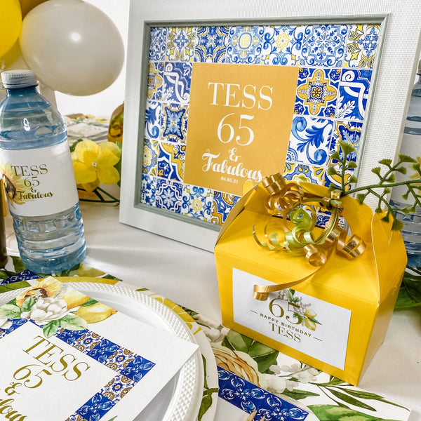 TUSCANY BIRTHDAY LEMONS & SUNFLOWER FRAME & CUSTOM GRAPHIC