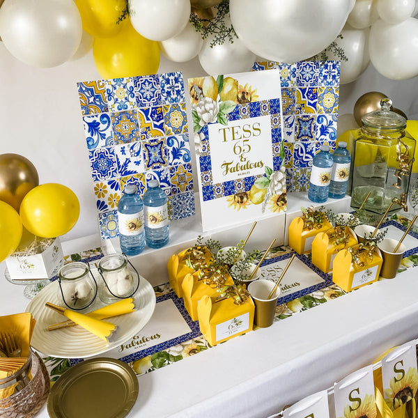 TUSCANY BIRTHDAY LEMONS & SUNFLOWER DESSERT & DRINK STATION